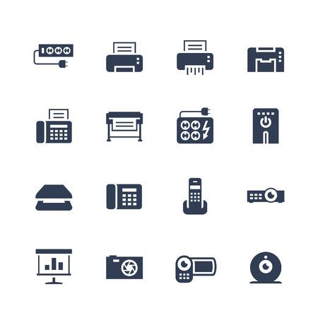 Electronics and gadgets icon set: surge suppressor, printer, shredder, multifunction device, fax, plotter, UPS, scanner, phone, projector, screen, photo camera, video camera, web camera Illustration
