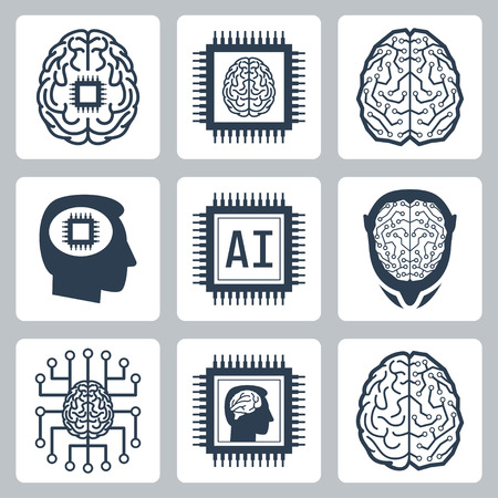 electronic circuit: Artificial intelligence and robot related vector icon set