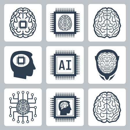 inteligencia: La inteligencia artificial y el robot relacionados icono de conjunto de vectores
