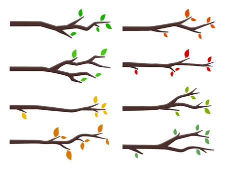 Vector set of tree branches in flat design style