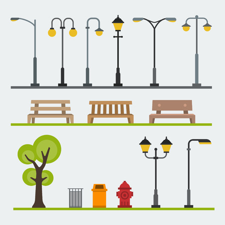 Light posts and outdoor elements for construction of landscapes. Vector flat illustration Çizim