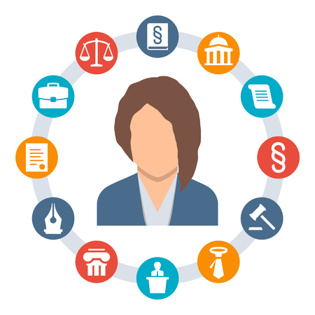 lawyer court: Woman lawyer, law concept vector icons