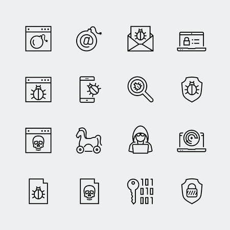 Computer virus, digital protection and hacker attack icon set Vettoriali