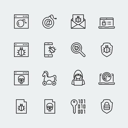 proteccion: virus informático, protección digital y ataques de piratas informáticos conjunto de iconos Vectores