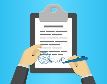 signing document: Hand signing document on a clipboard, flat design style Illustration