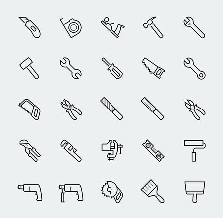 gouge: Hand work tools and instruments vector line icon set