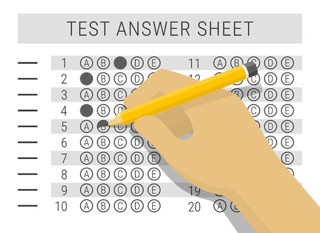 the test: Hand with pencil filling out answers on exam test answer sheet, flat style vector illustration Illustration