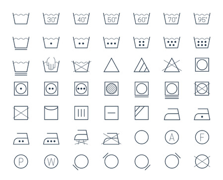 tumble: Icon set of laundry and textile care symbols and signs