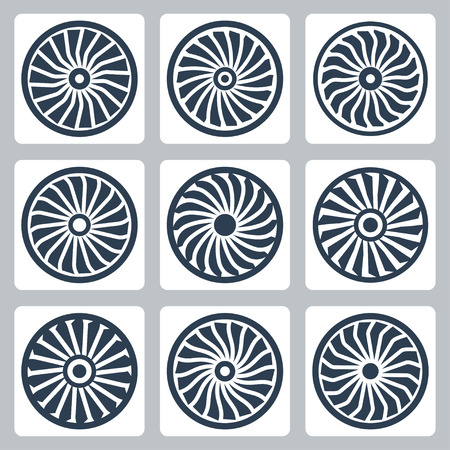 blades: Turbines vector icon set Illustration