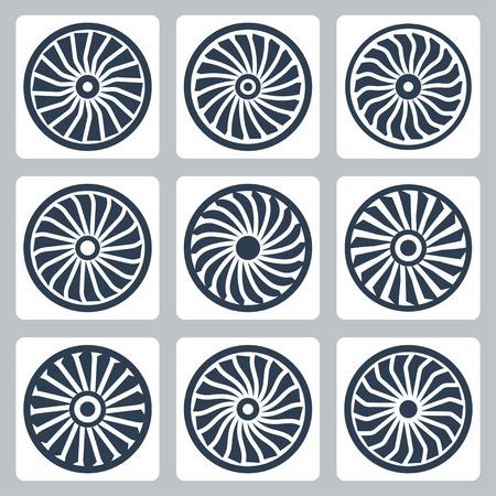 turbines: Turbines vector icon set Illustration