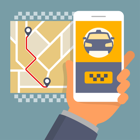 Hand holding phone with taxi hire service app running, flat design illustration