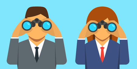 Businessman and businesswoman looking through binoculars, vector illustration Çizim