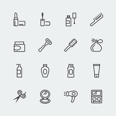 champú: Cosméticos y el icono de belleza establecidos en el estilo de línea delgada