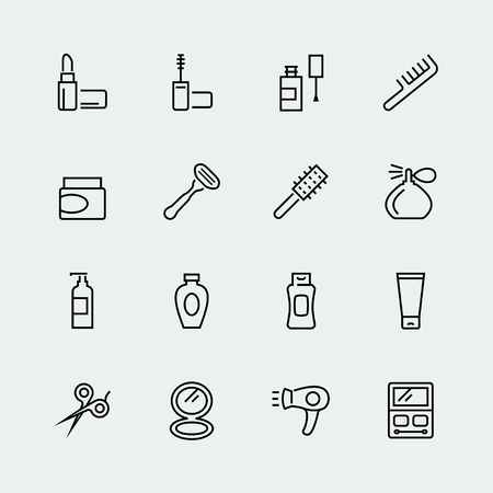 Cosmetics and beauty icon set in thin line style