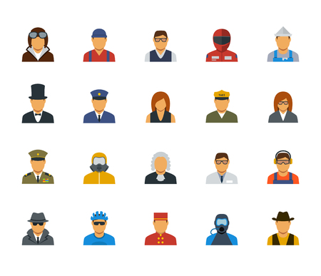 general manager: People professions and occupations icon set in flat design #3