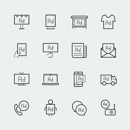 advertisements: Advertisement icon set in thin line style
