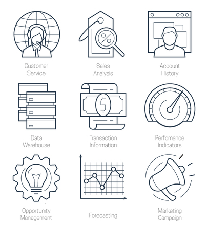 relationship management: CRM or customer relationship management icon set