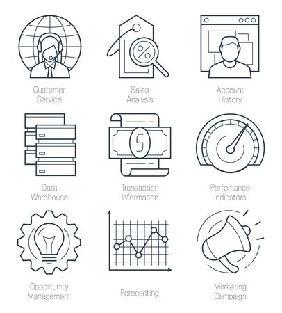 relationships: CRM or customer relationship management icon set