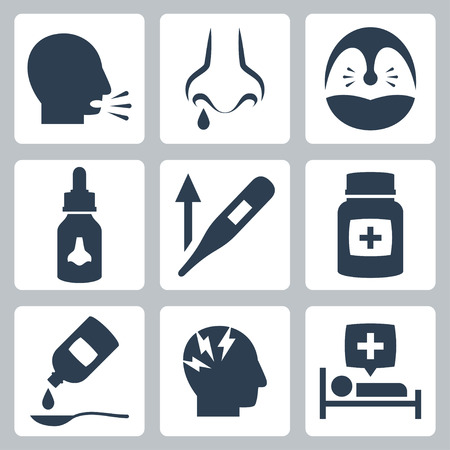 runny: Cold and flu related vector icons