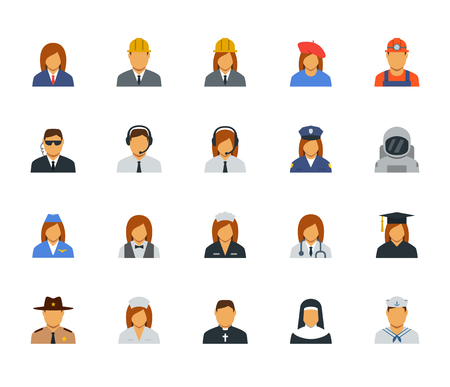 nun: People professions and occupations icon set in flat design #2