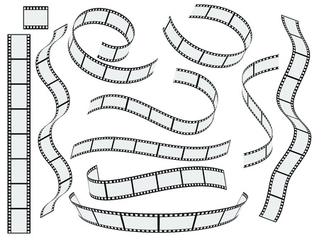 roll film: Film strip vector set Illustration