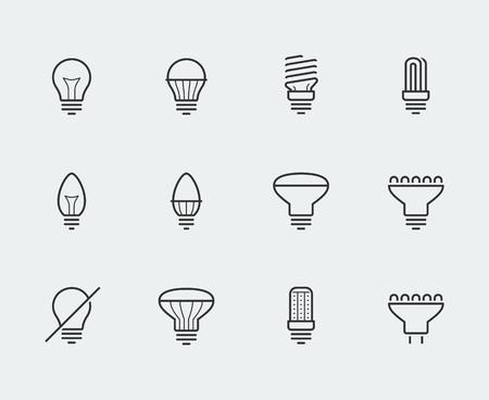 energysaving: Light bulbs vector icon set in thin line style