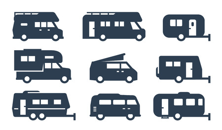 RV cars, recreational vehicles, camper vans icons 向量圖像