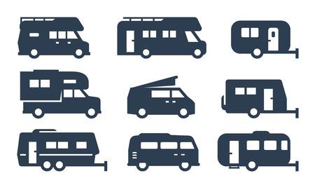 RV cars, recreational vehicles, camper vans icons Vectores