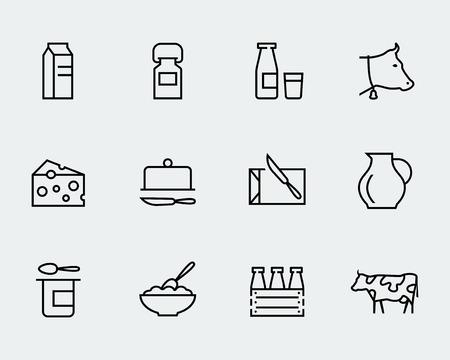 lacteos: icono de la leche y otros productos lácteos conjunto de vectores en el estilo de línea delgada Vectores