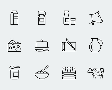 cow: Milk and other dairy products vector icon set in thin line style Illustration