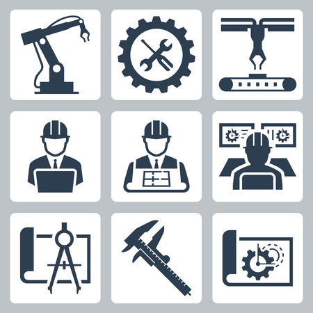 manufacturing occupation: Engineering and manufacturing vector icon set