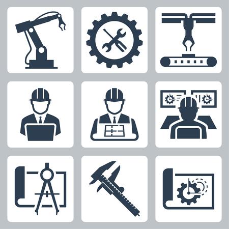 herramientas de mecánica: Ingeniería y fabricación de iconos de vectores