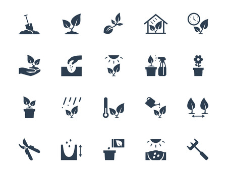 seed pots: Vector plant growing and cultivating icon set