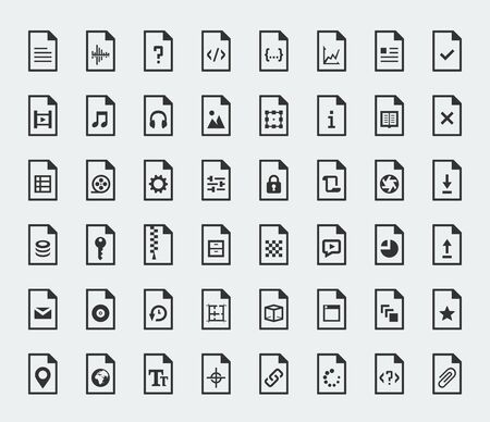 file types: File formats and types vector icon set Illustration