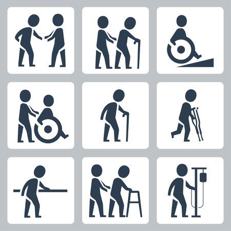 anciano: La atención médica, personas mayores y personas con discapacidad conjunto de iconos vectoriales Vectores
