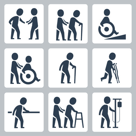 home care nurse: Medical care, elder and disabled people vector icon set