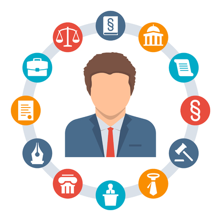 advocacy: Lawyer, law concept vector icons