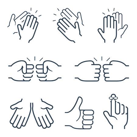 puños cerrados: Gestos de la mano iconos: aplaudiendo, y otra brofisting Vectores