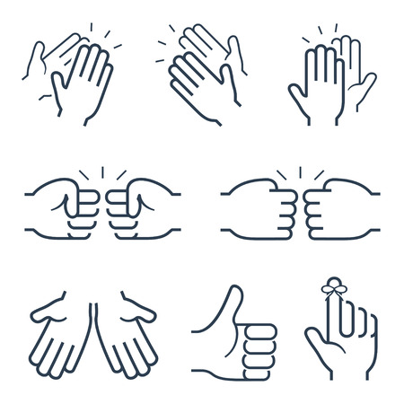 five fingers: Hand gestures icons: clapping, brofisting and other Illustration