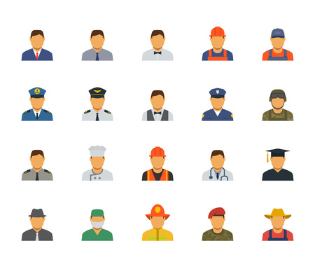 by the collar: People professions and occupations icon set in flat design #1 Illustration