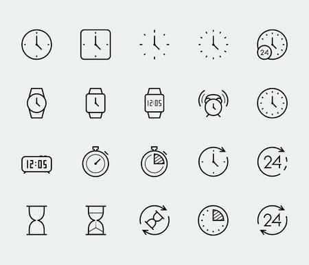 forme: Le temps et l'horloge vecteur icône situé dans le style de ligne mince
