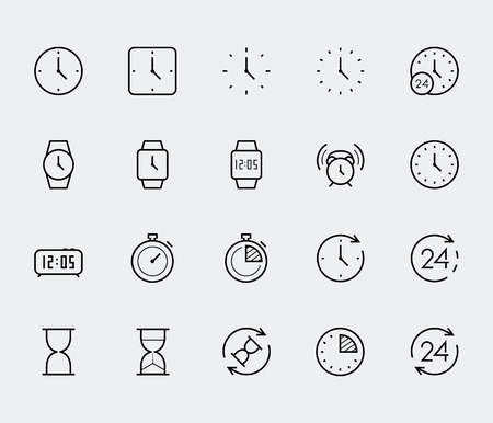 square shape: Time and clock vector icon set in thin line style
