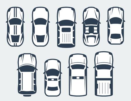 manzara: araba vektör seti - üstten görünüm Çizim