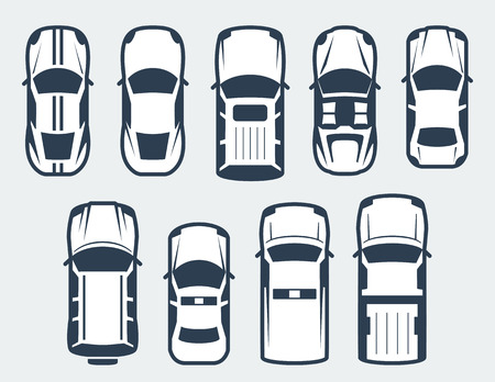 Vector set of cars - top view 免版税图像 - 49649712
