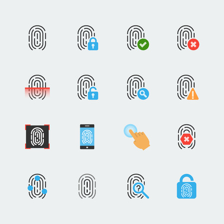 confirmed verification: Fingerprint icon set in flat style