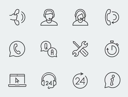 Support service vector icon set, thin line design  イラスト・ベクター素材