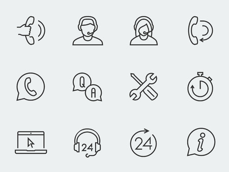 headset woman: Support service vector icon set, thin line design Illustration