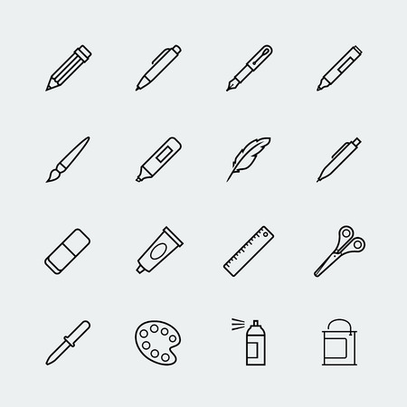 Drawing and writing tools icon set in thin line style