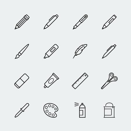 Tekenen en schrijven instrumenten icon set in dunne lijn stijl