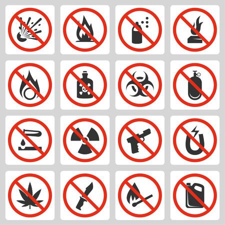 оружие: Признаки запрещенных предметов багажа в аэропорту, установить вектор значок